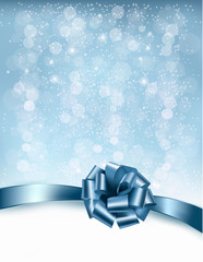Holiday background with gift glossy bows and ribbons. Vector