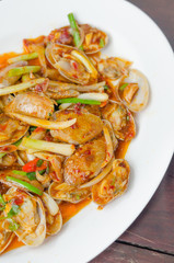 spicy clams on dish