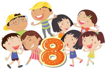 Eight playful kids