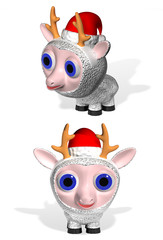 Ewe in Santa Claus's cap
