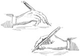Fototapety Vector of Hand Holding Pen at retro engraving style.