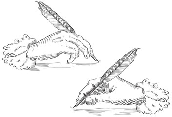 Vector of hand Holding a feather pen at retro engraving style.