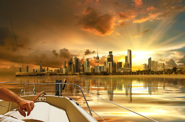 Kuwait city view from inside the boat