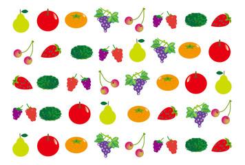 果物の壁紙 リンゴや葡萄やみかんのフルーツ素材