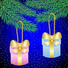two gifts hang on a christmas tree