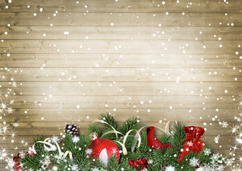 Vintage wood texture with snow, holly,firtree, cardinal.Christma
