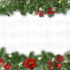 Christmas border on white background with holly,firtree,víscum.