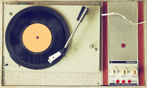 top view of old record player, image is retro filtered   - 73503590