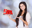 Beautiful Woman Presenting 50% Discount On Tray