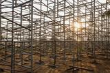 Steel scaffolding set up for temporary stadium in Phuket, Thaila poster
