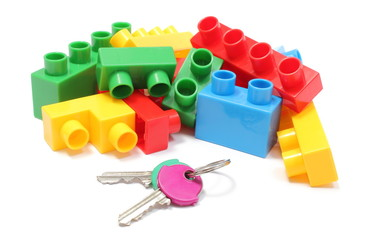 Colorful building blocks for children with home keys