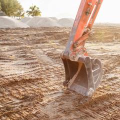 Excavator bucket closeup