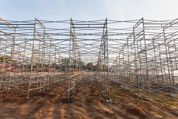 Steel scaffolding set up for temporary stadium in Phuket, Thaila