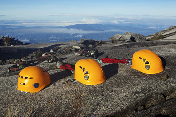 Yellow Climbing Helmets and Safety Equipment on Mount Kinabalu
