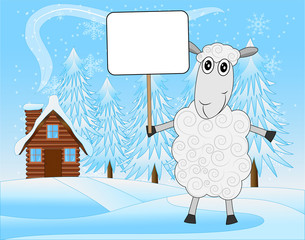 merry sheep on a background winter landscape