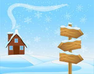 winter landscape with a wooden house and pointer