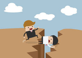 Business use himself as bridge, Sacrifice himself for others to