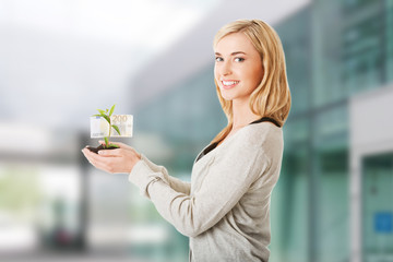 Woman with plant and euros in hand