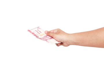 Hand holding thai money on white background.Hand holding thai mo
