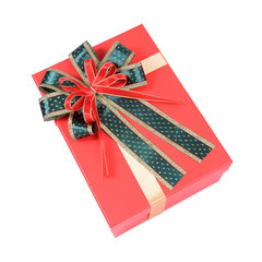 red gift box with ribbon.