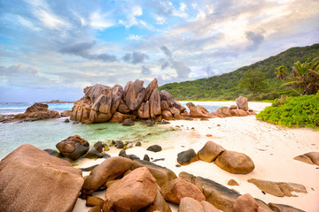 Granite rocks at Anse Cocos beach, La Digue, Seyshelles