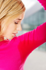 Woman having sweating problem