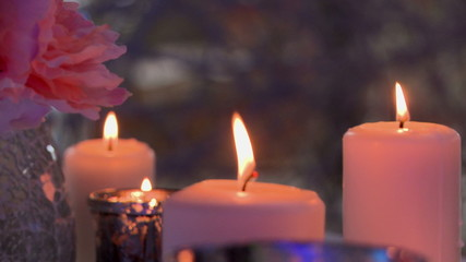 Flickering flame of candles, close-up