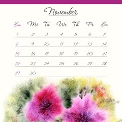 Calendar template 2015. November.  Floral design calendar.