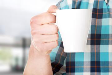 Worker on a break drink coffee