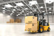 canvas print picture - Forklift truck in warehouse or storage loading cardboard boxes.