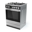 Stainless steel gas cooker with oven isolated on white. - 73507313