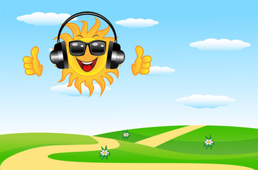 summer landscape with a merry sun in headsets