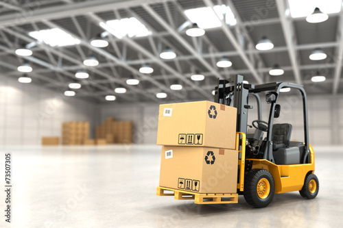 Forklift truck in warehouse or storage loading cardboard boxes. poster