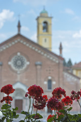 red flowers on medieval church background