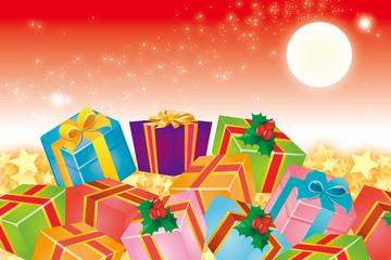 背景素材壁紙(贈り物と夜空,プレゼント,ギフト,商業,ビジネス,セール,コマーシャル,大売り出し,広告,宣伝,販売,PR)