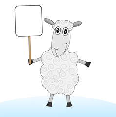 merry sheep with a banner on a white background