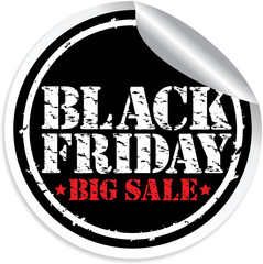 Black friday big sale grunge sticker, vector illustration