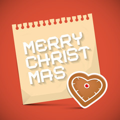 Merry Christmas Card with Gingerbread Heart and Paper Sheet