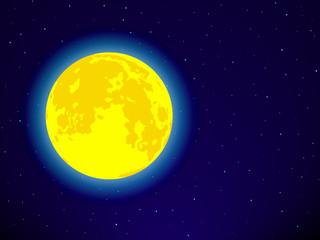 Full moon on night sky