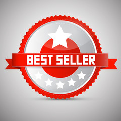 Best Seller Red and Silver Vector Award - Label - Tag