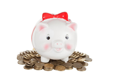 White  pig-coin box to stand on a heap of coins