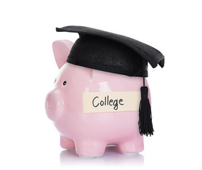 Piggybank With Mortar Board And College Label