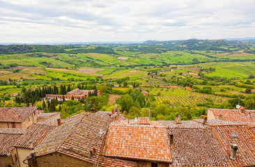 View of Val dOrcia valley in Montepulciano. Tuscany, Italy