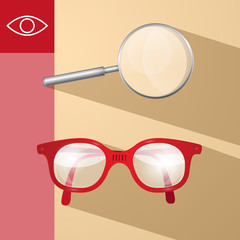 Magnifying Glass and Retro Glasses Vector Illustration