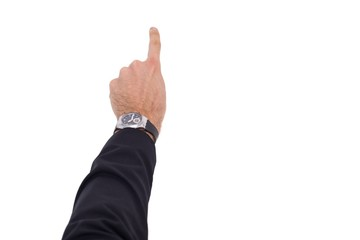 Businessman hand with watch pointing something