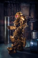 Futuristic power robots cyborg on industrial background