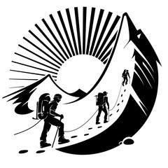Climbing a mountain. Vector illustration in the engraving style