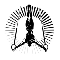 Gymnastic rings. Vector illustration in the engraving style