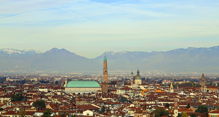 Panorama of the city of vicenza with the great basilica palladia