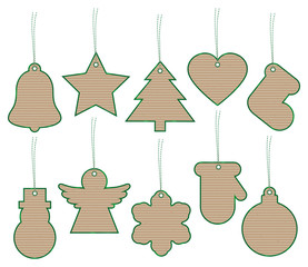Christmas Hangtags Brown Paper Green Striped Strings